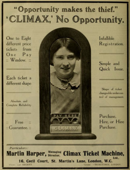 climax ticket machine ad 1913